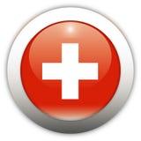 σημαία Ελβετία κουμπιών aqua Στοκ Εικόνες