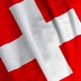 σημαία Ελβετός κινηματογραφήσεων σε πρώτο πλάνο Στοκ Φωτογραφία