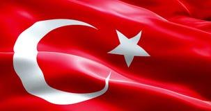 Σημαία ζωτικότητας του κυματίζοντας υποβάθρου υφάσματος σύστασης λουρίδων της Τουρκίας, εθνικός αραβικός πολιτισμός Ισλάμ συμβόλω απεικόνιση αποθεμάτων