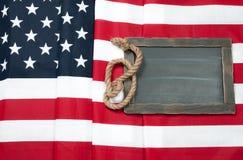 σημαία ΗΠΑ Αμερικανική σημαία στο ξύλινο υπόβαθρο Στοκ Φωτογραφίες