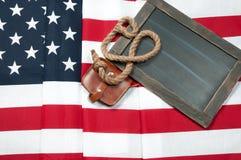 σημαία ΗΠΑ Αμερικανική σημαία στο ξύλινο υπόβαθρο Στοκ Εικόνες