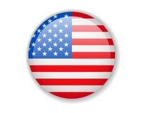 σημαία ΗΠΑ Στρογγυλό φωτεινό εικονίδιο σε ένα άσπρο υπόβαθρο διανυσματική απεικόνιση