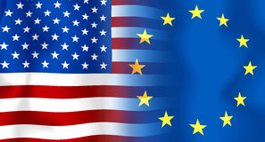 σημαία ΗΠΑ της ΕΕ Στοκ εικόνα με δικαίωμα ελεύθερης χρήσης