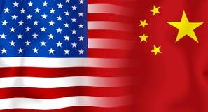 σημαία ΗΠΑ της Κίνας Στοκ Εικόνες