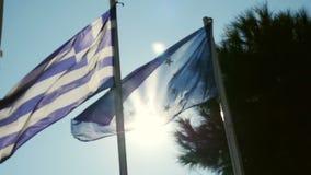Σημαία Θεσσαλονίκης, σημαία της Ελλάδας, σημαία της Ευρωπαϊκής Ένωσης απόθεμα βίντεο