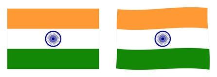 σημαία Ινδία Απλός και έκδοση ελαφρώς κυματισμού ελεύθερη απεικόνιση δικαιώματος