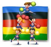 Σημαία και μαζορέτες Ολυμπιακών Αγώνων απεικόνιση αποθεμάτων