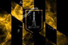 Σημαία καπνού πόλεων της Βαλτιμόρης, κράτος της Μέρυλαντ, Πολιτεία Amer στοκ εικόνες με δικαίωμα ελεύθερης χρήσης