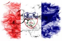 Σημαία καπνού πόλεων του Κλίβελαντ, κράτος του Οχάιου, Ηνωμένες Πολιτείες της Αμερικής Στοκ Φωτογραφίες