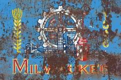 Σημαία καπνού πόλεων του Μιλγουώκι, κράτος του Ουισκόνσιν, Πολιτεία Ame Στοκ φωτογραφία με δικαίωμα ελεύθερης χρήσης