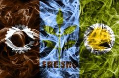 Σημαία καπνού πόλεων του Φρέσνο, κράτος Καλιφόρνιας, Ηνωμένες Πολιτείες της Αμερικής στοκ εικόνα με δικαίωμα ελεύθερης χρήσης