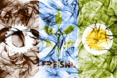 Σημαία καπνού πόλεων του Φρέσνο, κράτος Καλιφόρνιας, Ηνωμένες Πολιτείες της Αμερικής Στοκ Φωτογραφίες