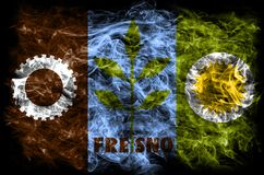 Σημαία καπνού πόλεων του Φρέσνο, κράτος Καλιφόρνιας, Πολιτεία Ameri Στοκ Εικόνες