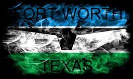 Σημαία καπνού πόλεων του Fort Worth, κράτος του Τέξας, Ηνωμένες Πολιτείες της Αμερικής στοκ εικόνα με δικαίωμα ελεύθερης χρήσης