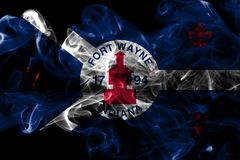 Σημαία καπνού πόλεων του Wayne οχυρών, κράτος της Ιντιάνα, Ηνωμένες Πολιτείες της Αμερικής στοκ εικόνες με δικαίωμα ελεύθερης χρήσης