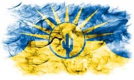 Σημαία καπνού πόλεων Mesa, κράτος της Αριζόνα, Ηνωμένες Πολιτείες της Αμερικής Στοκ φωτογραφία με δικαίωμα ελεύθερης χρήσης