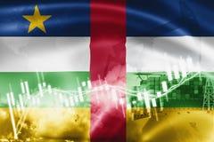 Σημαία Κεντροαφρικανικής Δημοκρατίας, χρηματιστήριο, οικονομία ανταλλαγής και εμπόριο, παραγωγή πετρελαίου, σκάφος εμπορευματοκιβ διανυσματική απεικόνιση