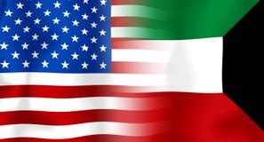 σημαία Κουβέιτ ΗΠΑ Στοκ φωτογραφία με δικαίωμα ελεύθερης χρήσης