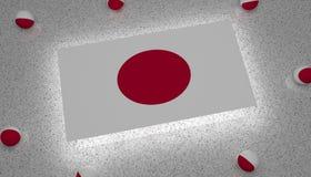 Σημαία κόκκινη άσπρη Ασία της Ιαπωνίας ελεύθερη απεικόνιση δικαιώματος