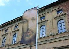 Σημαία με την εικόνα πορτρέτου ¼ του Albrecht DÃ rer ενάντια στην οικοδόμηση Στοκ Φωτογραφίες