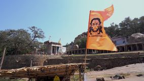 Σημαία με την εικόνα Hanuman απόθεμα βίντεο
