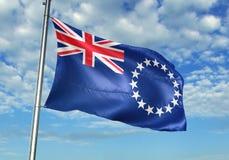 Σημαία νήσων Κουκ που κυματίζει με τον ουρανό στη ρεαλιστική τρισδιάστατη απεικόνιση υποβάθρου στοκ φωτογραφίες με δικαίωμα ελεύθερης χρήσης