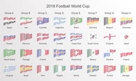 Σημαία Παγκόσμιου Κυπέλλου 2018 ποδοσφαίρου Εικονίδιο σημαιών γραμμών που απομονώνονται, διανυσματικό IL ελεύθερη απεικόνιση δικαιώματος