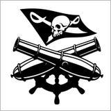 Σημαία πειρατείας και διασχισμένος κανόνας ελεύθερη απεικόνιση δικαιώματος