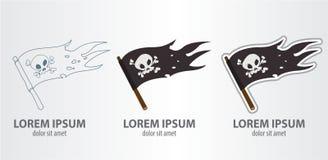 Σημαία πειρατών λογότυπων Στοκ εικόνα με δικαίωμα ελεύθερης χρήσης