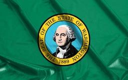 Σημαία πολιτεία της Washington κυματισμένου του η Αμερική κυματισμού Στοκ Φωτογραφίες