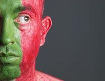 Σημαία Πορτογαλία προσώπου ατόμων Στοκ φωτογραφία με δικαίωμα ελεύθερης χρήσης