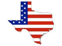 Σημαία που συνδυάζεται ΑΜΕΡΙΚΑΝΙΚΗ με το χάρτη του αμερικανικού ομοσπονδιακού κράτους του Τέξας ελεύθερη απεικόνιση δικαιώματος