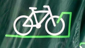 Σημαία ποδηλάτων που κυματίζει γρήγορα απόθεμα βίντεο