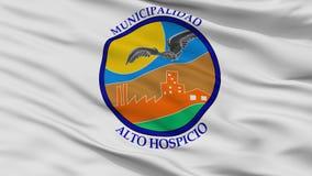 Σημαία πόλεων Hospicio Alto, Χιλή, άποψη κινηματογραφήσεων σε πρώτο πλάνο ελεύθερη απεικόνιση δικαιώματος