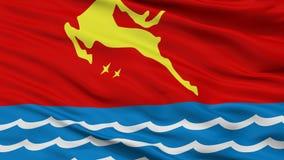 Σημαία πόλεων Magadan, Ρωσία, Ρωσική Ομοσπονδία, άποψη κινηματογραφήσεων σε πρώτο πλάνο Διανυσματική απεικόνιση