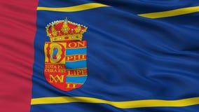 Σημαία πόλεων Mostoles, Ισπανία, άποψη κινηματογραφήσεων σε πρώτο πλάνο Ελεύθερη απεικόνιση δικαιώματος