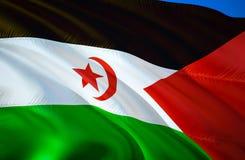 σημαία Σαχάρα δυτική τρισδιάστατο σχέδιο σημαιών κυματισμού Το εθνικό σύμβολο δυτικής Σαχάρας, τρισδιάστατη απόδοση Εθνικά χρώματ απεικόνιση αποθεμάτων