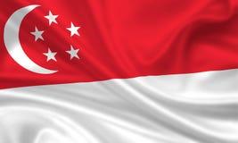 σημαία Σινγκαπούρη Στοκ Φωτογραφίες