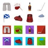 Σημαία, σκωτσέζικη φούστα, βροχερός καιρός, ΚΑΠ Καθορισμένα εικονίδια συλλογής χωρών της Σκωτίας στα κινούμενα σχέδια, επίπεδο απ Στοκ Εικόνες