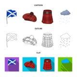 Σημαία, σκωτσέζικη φούστα, βροχερός καιρός, ΚΑΠ Καθορισμένα εικονίδια συλλογής χωρών της Σκωτίας στα κινούμενα σχέδια, περίληψη,  Στοκ εικόνα με δικαίωμα ελεύθερης χρήσης