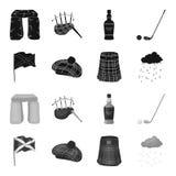 Σημαία, σκωτσέζικη φούστα, βροχερός καιρός, ΚΑΠ Καθορισμένα εικονίδια συλλογής χωρών της Σκωτίας στο μαύρο, μονοχρωματικό απόθεμα διανυσματική απεικόνιση