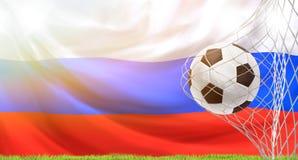 Σημαία σφαιρών ποδοσφαίρου στόχου ποδοσφαίρου της τρισδιάστατης απόδοσης της Ρωσίας Στοκ εικόνα με δικαίωμα ελεύθερης χρήσης