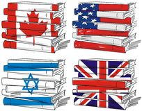 σημαία τέσσερα χωρών βιβλίων Στοκ Εικόνα