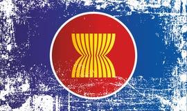 Σημαία της Ένωσης των Χωρών Νοτιοανατολικής Ασίας Ζαρωμένα βρώμικα σημεία απεικόνιση αποθεμάτων