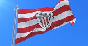 Σημαία της αθλητικής λέσχης Μπιλμπάο, ισπανική λέσχη ποδοσφαίρου σε αργό, κυματίζοντας στον αέρα, βρόχος