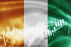 Σημαία της Ακτής του Ελεφαντοστού, χρηματιστήριο, οικονομία ανταλλαγής και εμπόριο, παραγωγή πετρελαίου, σκάφος εμπορευματοκιβωτί διανυσματική απεικόνιση