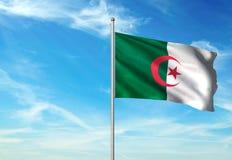 Σημαία της Αλγερίας που κυματίζει με τον ουρανό στη ρεαλιστική τρισδιάστατη απεικόνιση υποβάθρου στοκ εικόνες