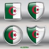Σημαία της Αλγερίας στη συλλογή 4 μορφών με το ψαλίδισμα της πορείας Στοκ Φωτογραφία
