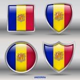 Σημαία της Ανδόρας στη συλλογή 4 μορφών με το ψαλίδισμα της πορείας Στοκ φωτογραφία με δικαίωμα ελεύθερης χρήσης