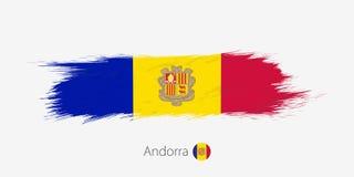 Σημαία της Ανδόρας, grunge αφηρημένο κτύπημα βουρτσών στο γκρίζο υπόβαθρο ελεύθερη απεικόνιση δικαιώματος